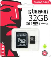 Карта памяти Kingston microSDHC 32GB UHS-I class 10 с адаптером