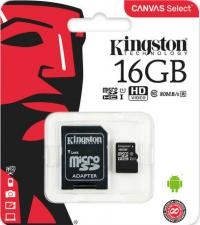 Карта памяти Kingston microSDHC 16GB class 10 UHS-I U1 с адаптером
